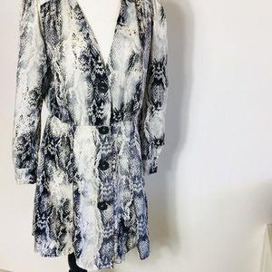 Zara Snakeskin Dress Women's Button Down Small